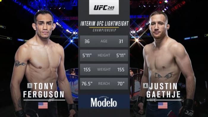 TONY FERGUSON VS. JUSTIN GAETHJE UFC 249