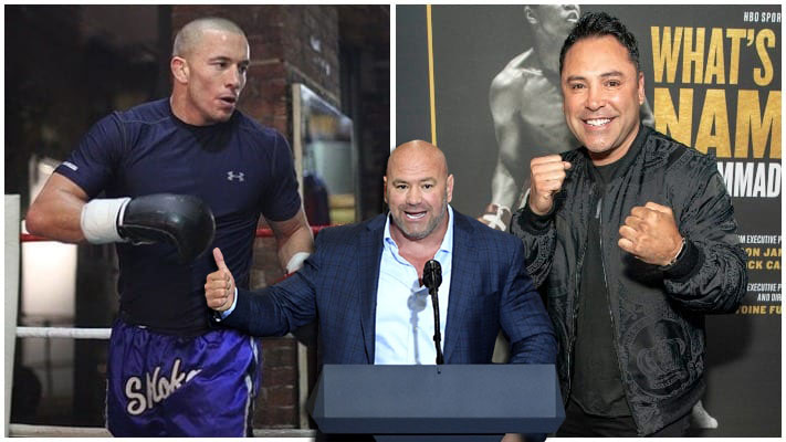 Georges St-Pierre reacted to Dana White's decision to ban him from fighting De La Hoya