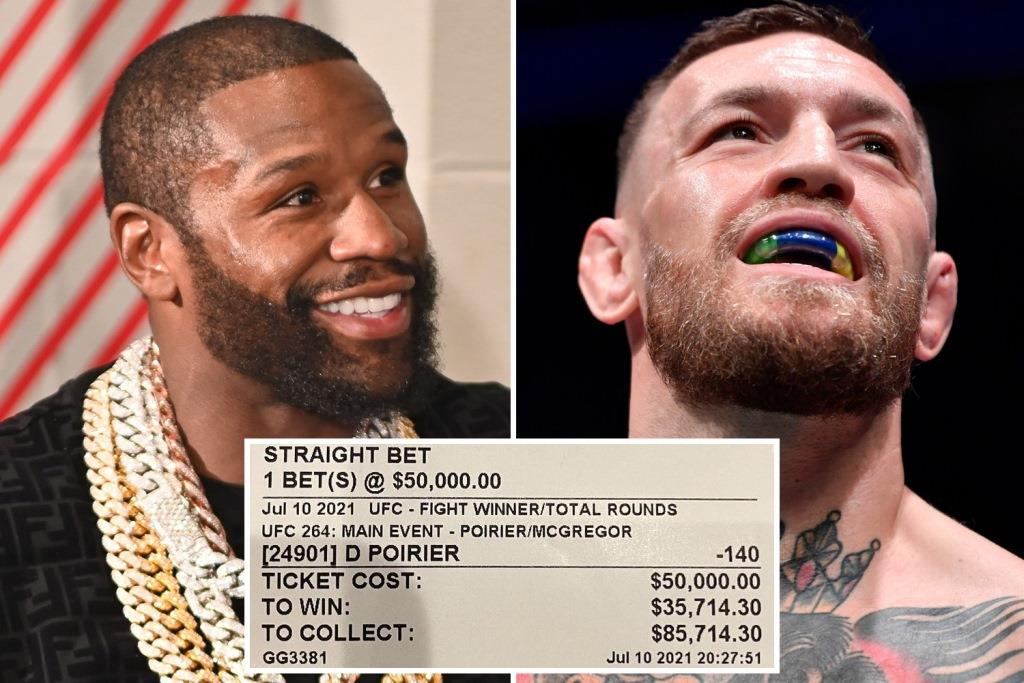 Conor McGregor reacted to Floyd Mayweather's tweet about a successful bet on Dustin Porrier's victory